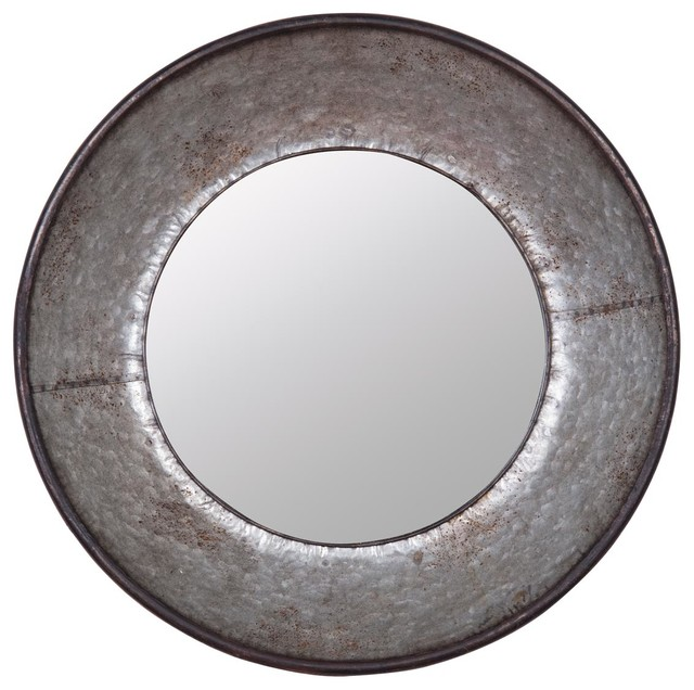 Industrial Wall Mirror foreside galvanized round mirror - industrial - wall mirrors -