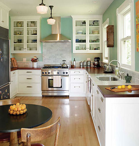 Dark wood countertops play so nicely with aqua-colored
