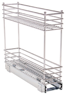 "Glidez Narrow 5"" Sliding Organizer, Chrome - Contemporary - Pantry And Cabinet Organizers - by ..."