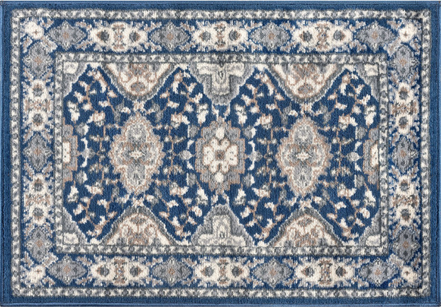 Syracuse Traditional Oriental Navy Scatter Mat Rug, 2&x27;x3&x27;.