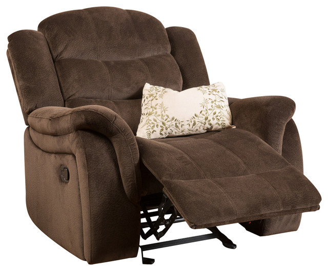 Lovely Blake Brown Fabric Glider Recliner Club Chair