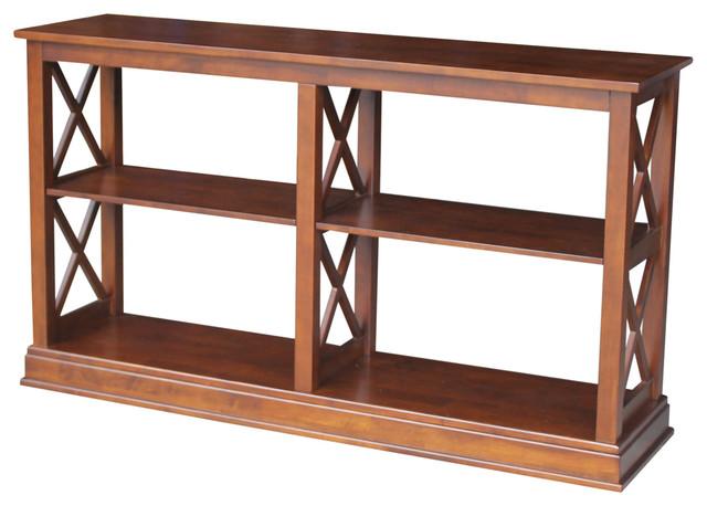 Hampton Sofa, Server Table With Shelves, Espresso Traditional Console Tables