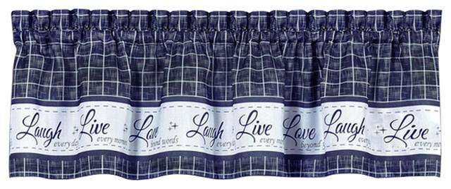 "Live, Love, Laugh Window Curtain Valance, 58""x14"", Navy."
