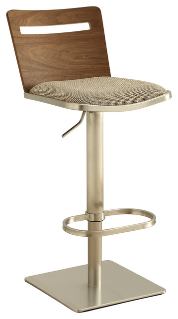 Danika Adjustable Swivel Stainless Steel Wooden Barstool modern-bar-stools -and-  sc 1 st  Houzz : wooden adjustable stool - islam-shia.org
