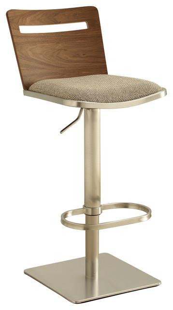 Danika Adjustable Swivel Stainless Steel Wooden Barstool modern-bar-stools -and-  sc 1 st  Houzz & Danika Adjustable Swivel Stainless Steel Wooden Barstool - Modern ... islam-shia.org