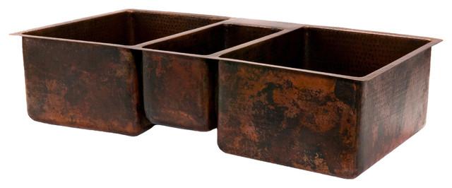 hammered copper kitchen triple basin sink quot rustic kitchen sinks: hammered copper kitchen sink