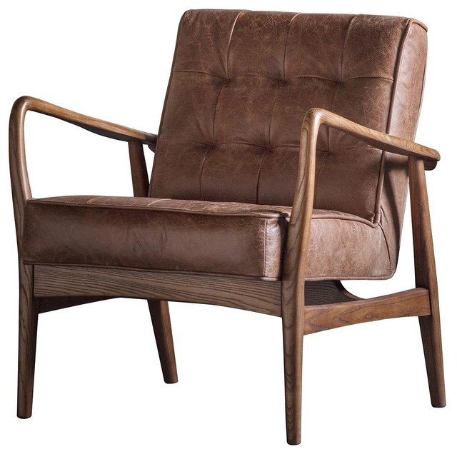 Humber Upholstered Armchair, Vintage Brown Leather
