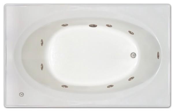 """Pinnacle Bath, 72""""x42"""", Drop-In Whirlpool Tub, Right Drain."""