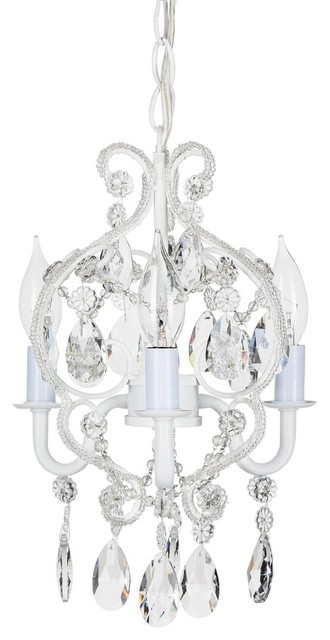 Tiffany 3-Light Mini Beaded Crystal Chandelier, White. -1
