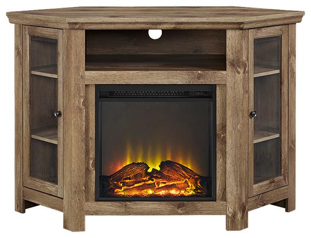 walker edison 48 corner fireplace tv stand barnwood entertainment centers and tv stands houzz. Black Bedroom Furniture Sets. Home Design Ideas