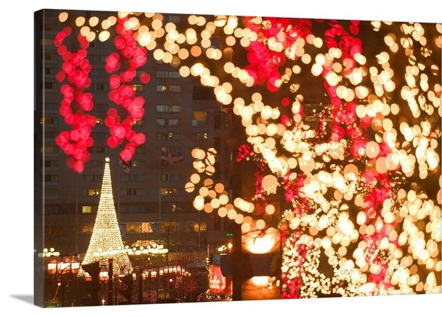 Canada Quebec Montreal Avenue Mcgill College With Christmas Decorations