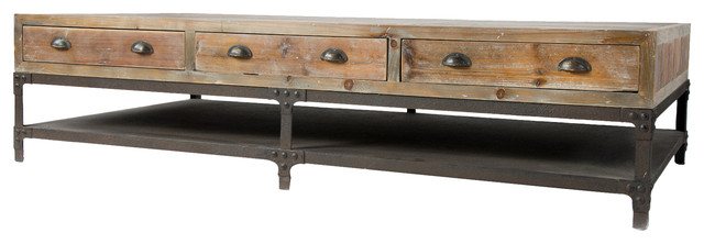 Hemlock Rustic Lodge Reclaimed Wood Iron Three Drawer Coffee Table Rustic  Coffee Tables