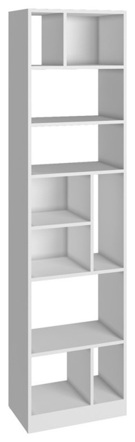 Manhattan Comfort Durable Valenca Bookcase 4.0 With 10, Shelves, White.