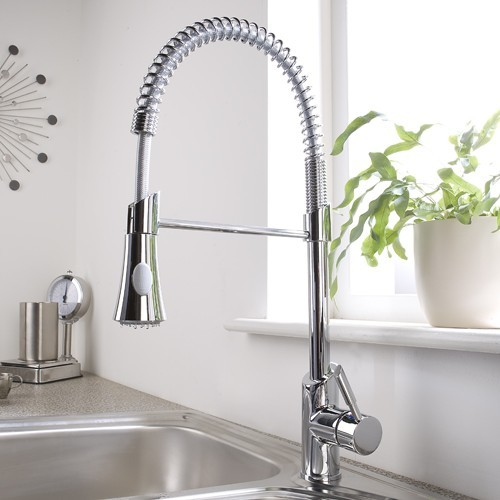 chrome pull-down sprayer kitchen faucet