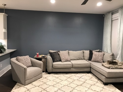 The Wall Color Looked Amazing Above The White Cabinets In The Kitchen So I  Carried It Down The Living Room Wall Thinking I Could Use Light Decor To  Accent ...