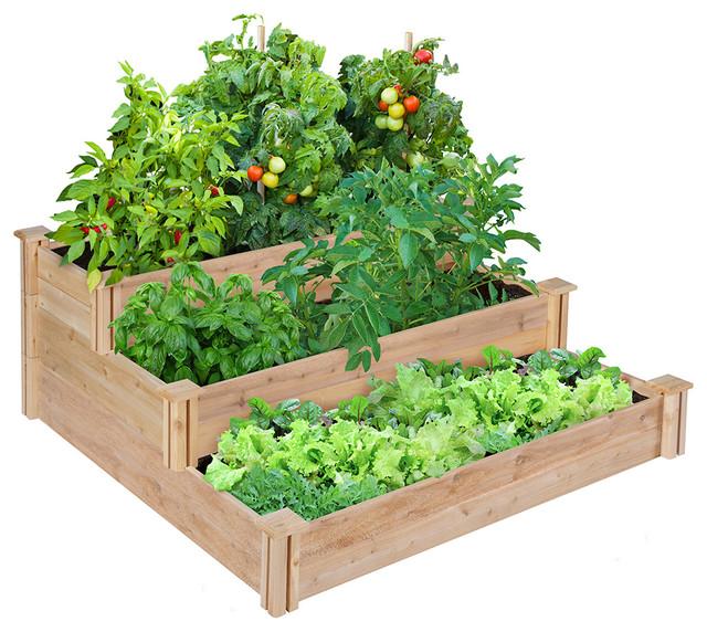 Linnaeus Cedar 3 Tiered Raised Garden Bed