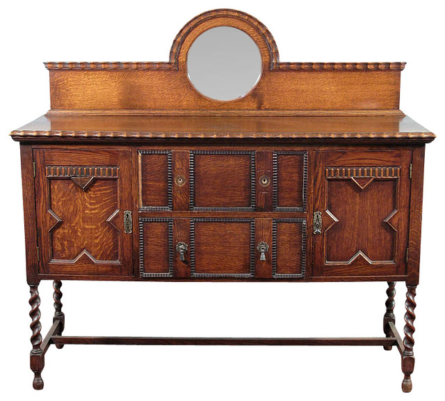 Antique Oak Jacobean Barley Twist Buffet Sideboard Traditional Buffets And Sideboards