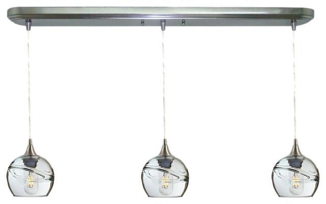 Swell 3-Light Linear Pendant No. 763, Clear Glass Shades, 4 Watt