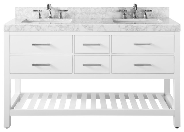 "Elizabeth Bath Vanity Set, Base: White, 60"", Top: Carrara Marble"