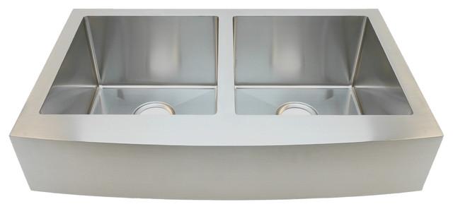"Auric Sinks 33"" Retro-Fit Short 6"" Curved Apron Farmhouse 50/50 Bowl Sink."