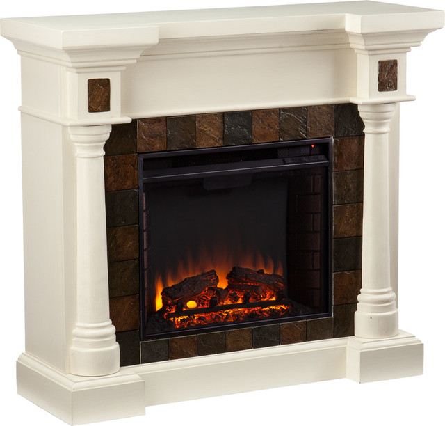 Carrington Faux Slate Convertible Electric Fireplace, Sleek Ivory.