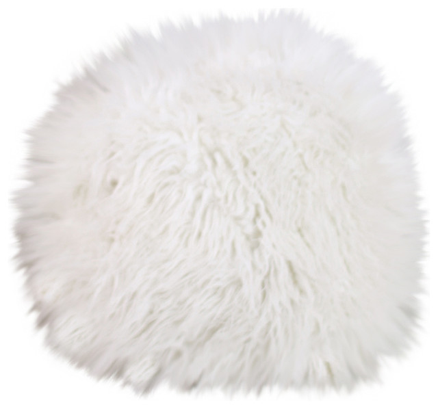 lamb faux fur round pillow white contemporary decorative pillows - White Decorative Pillows