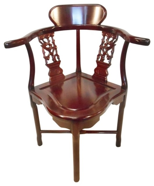 Rosewood Oriental Corner Chair Hand Carved Bird And Flower