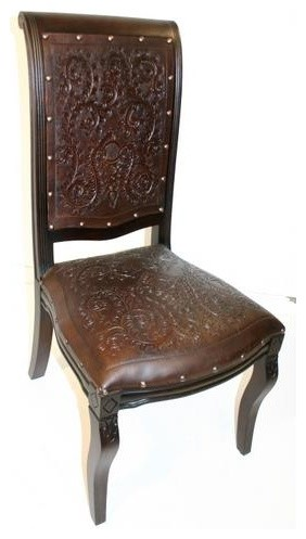 Colonial Imperial Side Dining Chair W Tooled Leather Seat Back Antique Brown