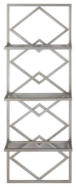 Art Deco Silver Wall Shelf Antiqued Metallic Hanging Open Diamond Shelves