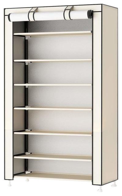 Modern Stylish Storage Organizer Upholstered, Waterproof Fabric, 8-Tier, Beige