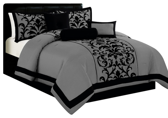 Popular 7pc Traditional Damask Print Satin Comforter Set with Cushions  EX58