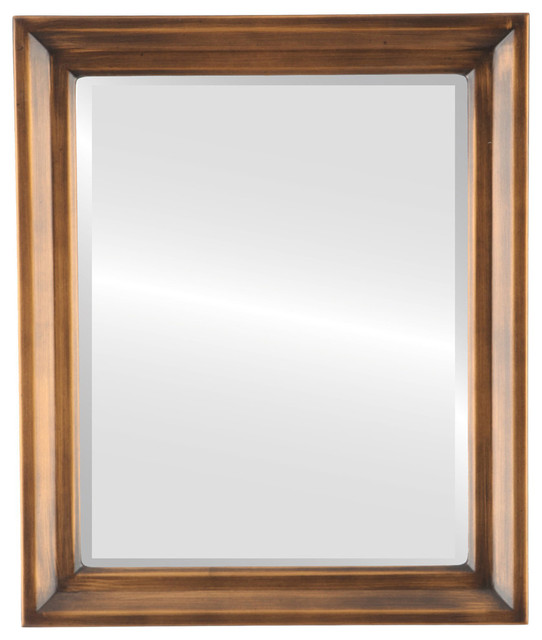 Newport Framed Rectangle Mirror, Sunset Gold, 23x27.
