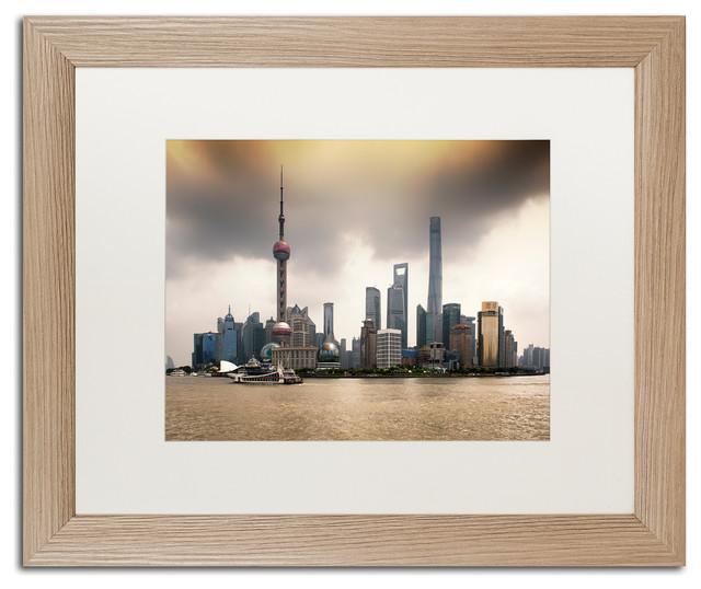 "Philippe Hugonnard 'Oriental Pearl' Art, Birch Frame, White Matte, 20""x16"""