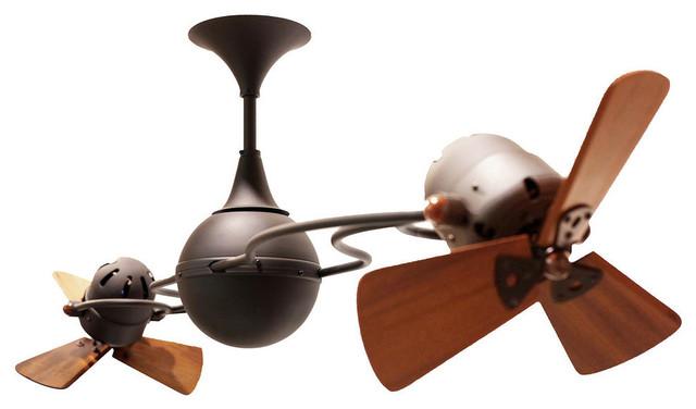 Italo Ventania Rotational Ceiling Fan With Mahogany Blades, Bronze Finish.