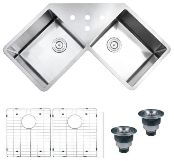 Ruvati Rvh8400 Undermount Corner Kitchen Sink 16 Gauge 44 Double Bowl