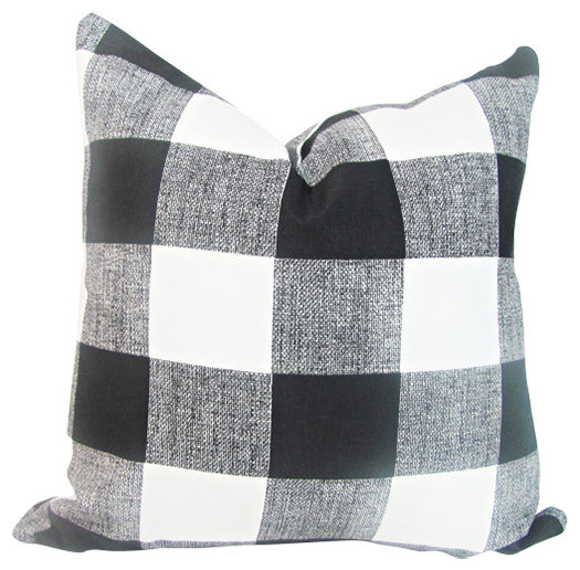 Buffalo Plaid Pillow Cover, Black And White.