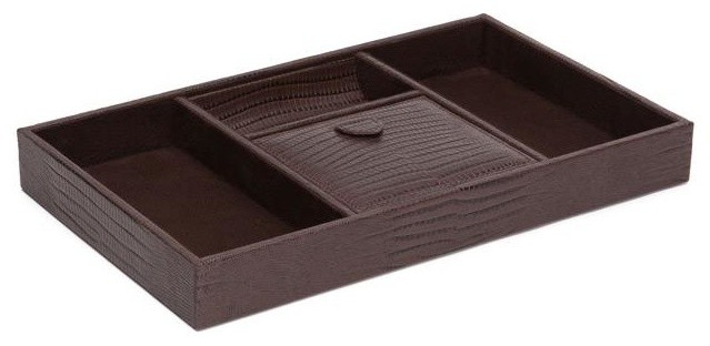 Wolf Blake 4 Compartment Valet Tray, Genuine Brown Lizard Leather.