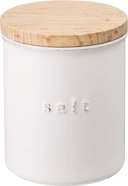Tosca Ceramic Canister Salt, White.