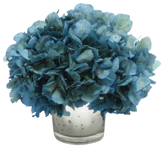 Blue hydrangea artificial flowers sevenstonesinc mercury gl votive blue hydrangea transitional artificial hydrangea artificial flowers mightylinksfo