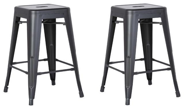 Backless Metal Bar Stools Set Of 2 Matte Black 24