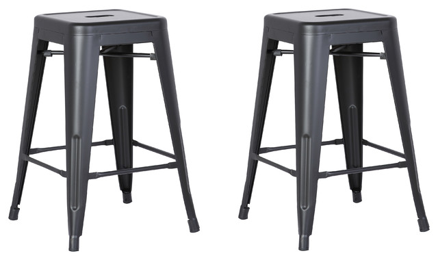 Magnificent Backless Metal Barstool Matte Black Set Of 2 24 Ibusinesslaw Wood Chair Design Ideas Ibusinesslaworg