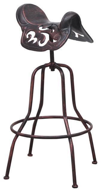 Adjustable Bar Stool With Saddle Like Seat Rustic Bar