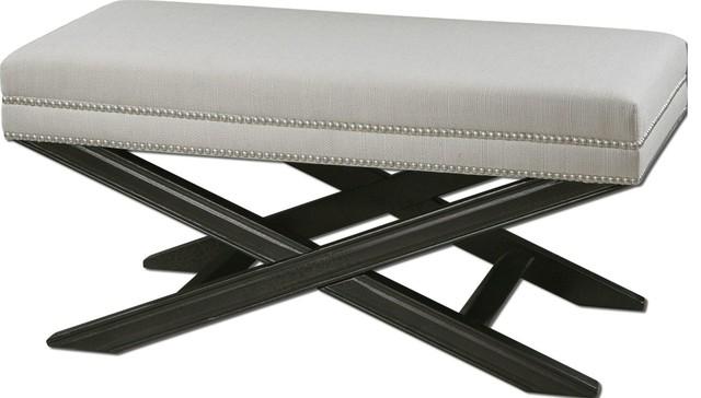 Black Bench White Woven Teflon(r) Fabric Protector Silver Nail Home Decor.