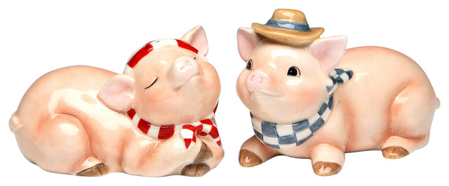 Pig Salt And Pepper Shakers Set Of 2 Farmhouse Salt And Pepper Shakers And Mills By Cosmos Gifts Corp