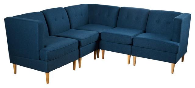 Stupendous Gdf Studio 5 Piece Milltown Fabric Sectional Sofa Set Navy Blue Inzonedesignstudio Interior Chair Design Inzonedesignstudiocom