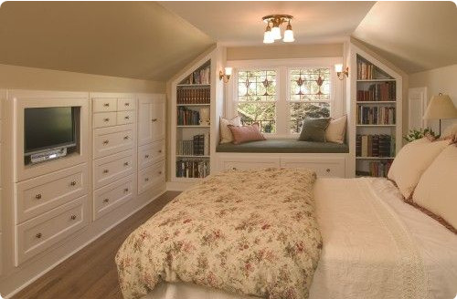 Upstairs Bedroom With Sloped Ceilings