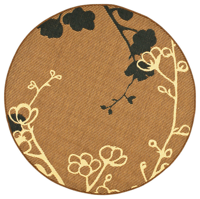 Safavieh Genoa Rug, Brown Natural And Black, 6&x27;7x6&x27;7 Round.