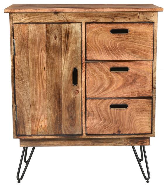 Natural Burnt Solid Mango Wood Black Iron Cabinet Rustic