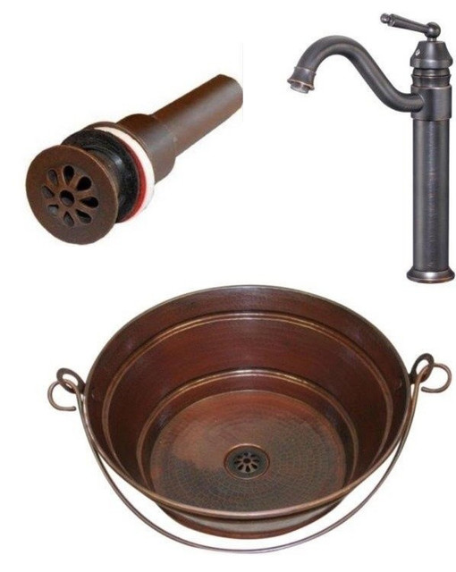 "15"" Round Copper Bucket Vessel Sink with Drain,  and Faucet Combo"