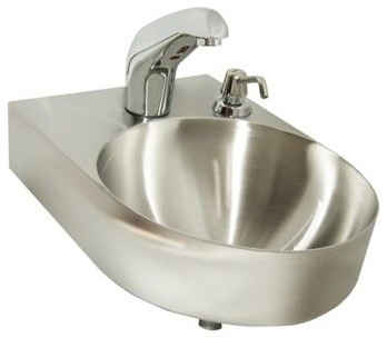 Just Single Bowl Lavatory 14x14x6 Hand Wash Sink 18 Gauge Stainless Steel  Traditional Bathroom